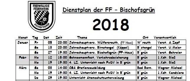 Übungsplan 2018 Vorschau